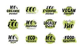 Eco, bio logotipo Sistema de etiqueta sano de la comida Letras del vector Ilustración del Vector