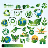 ECO BIO Nature Vector Set. A set of different ecological icons and logo elements royalty free illustration