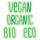 Eco, bio, organic, vegan signs, vector label lettering, ecological, vegetarian, organic concepts stickers and badges. Eco, bio, organic, vegan signs, vector Stock Photos