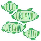 Eco, bio, organic, vegan signs, vector label lettering, ecological, vegetarian, organic concepts stickers and badges. Eco, bio, organic, vegan signs, vector Stock Photography