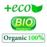 Eco Bio produkt, precent bokstäver organiska 100 grön leaf stock illustrationer
