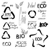 Eco bio set. Eco bio green 100 % natural organic handwritten set of vector text and signs royalty free illustration