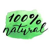 Eco bio sign on watercolor stain. natural organic Royalty Free Stock Images
