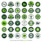 36 eco, bio som är organisk, nya etiketter för lantgård Arkivbilder