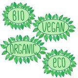 Eco bio som är organisk, strikt vegetarian undertecknar in det gröna ovala emblemet med sidor omkring, vektoretikettillustratione Vektor Illustrationer