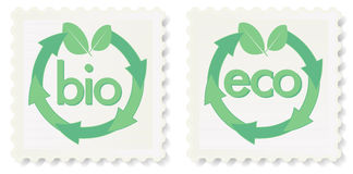 Eco and Bio Stamps Stock Photography