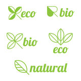 Eco-, Bio- und natürlicheaufkleber stock abbildung