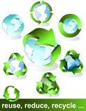 Eco, bio, verdes y reciclan símbolos