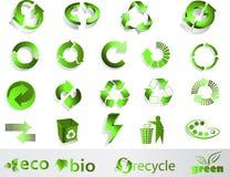 Eco, bio, verdes y reciclan símbolos Fotografía de archivo libre de regalías