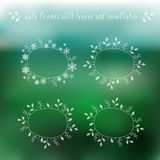 Eco blurry background and floral frames. Blurry green background with doodle hand-drawn floral frames in vector. Eco design template for card, banner, invitation stock illustration