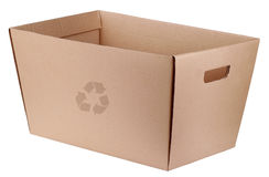 Eco box. For shoping recycled cardboard Stock Photography