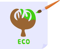 ECO. The brush paints the tree in green Vector Illustration