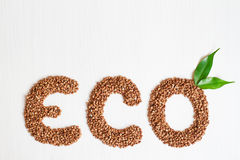 Eco buckwheat cereals on a white background. With green leaves Stock Photos