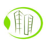 Eco building. Green eco building  icon Royalty Free Stock Images