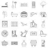 Eco building icons set, outline style. Eco building icons set. Outline set of 25 eco building vector icons for web isolated on white background Stock Images