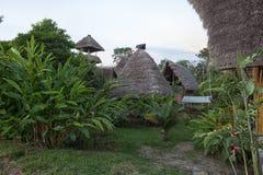 Eco buildings made of bamboo in the Amazon of Ecuador Royalty Free Stock Photos