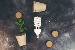 Eco bulb energy saving concept. Eco bulb energy saving reuse recycle concept royalty free stock image