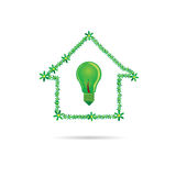 Eco bulb in green house vector Royalty Free Stock Photo