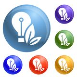 Eco bulb icons set vector royalty free illustration