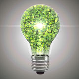 Eco bulb made from green leaves. Beautiful graphic made of green leaves on gradient background Royalty Free Stock Photography