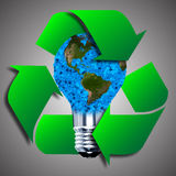 Eco bulb made from green leaves. Beautiful graphic made of green leaves on gradient background Royalty Free Stock Photo