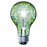 Eco bulb made from green leaves. Beautiful graphic made of green leaves on gradient background Stock Image
