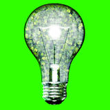 Eco bulb made from green leaves. Beautiful graphic made of green leaves on gradient background Stock Images