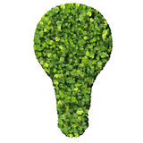 Eco bulb made from green leaves. Beautiful graphic made of green leaves on gradient background Royalty Free Stock Image