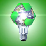 Eco bulb made from green leaves. Beautiful graphic made of green leaves on gradient background Royalty Free Stock Images