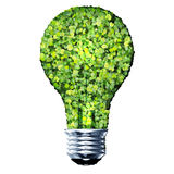 Eco bulb made from green leaves. Beautiful graphic made of green leaves on gradient background Stock Photos