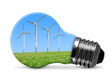 Eco bulb with wind turbines Stock Photos