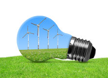 Eco bulb with wind turbines Stock Photography