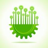 Eco bulbs on half gear Stock Image