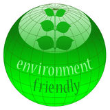 Eco button. Environment friendly icon with globe and leaves Royalty Free Stock Images