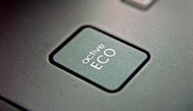 Eco button. On the control panel of car Stock Image
