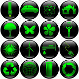 Eco button set. Black glossy buttons with eco icons for web Stock Image