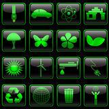 Eco button set. Eco icons on black glossy button of square shape Royalty Free Stock Images