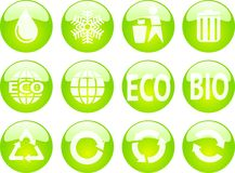 Eco buttons. Beautiful eco buttons for web. Internet buttons Stock Photo