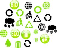 Eco buttons. Collection of color icons for web. Environment icons for internet Stock Photos