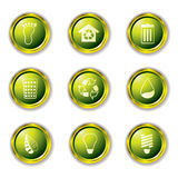Eco buttons gold Royalty Free Stock Photos