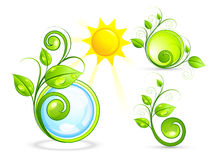 Eco buttons and sun Royalty Free Stock Image