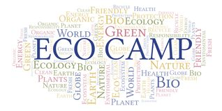 Eco Camp word cloud. Wordcloud made with text only vector illustration