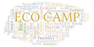 Eco Camp word cloud. Wordcloud made with text only stock illustration