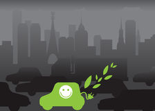 Eco car. Environmental contamination by cars. Traffic jam. Stop-go.Ecological car Royalty Free Stock Images