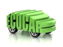 Eco car 3d concept Stock Photography