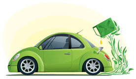 Eco car on the bio fuel Royalty Free Stock Images