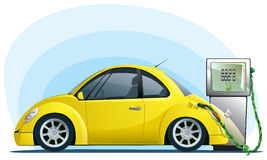 Eco car on the bio fuel Stock Images