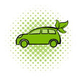 Eco car comics icon. Ecology symbol on a white background Royalty Free Stock Photos