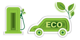 Eco car concept with icon leaf, paper art design style.vector Stock Images