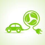 Eco car concept with recycle icon of leaf Royalty Free Stock Photos